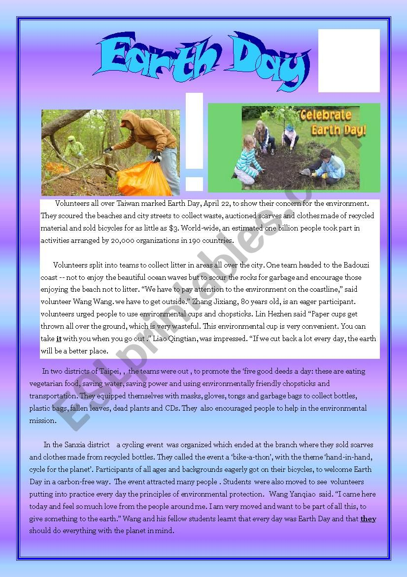 Reading about Earth Day worksheet