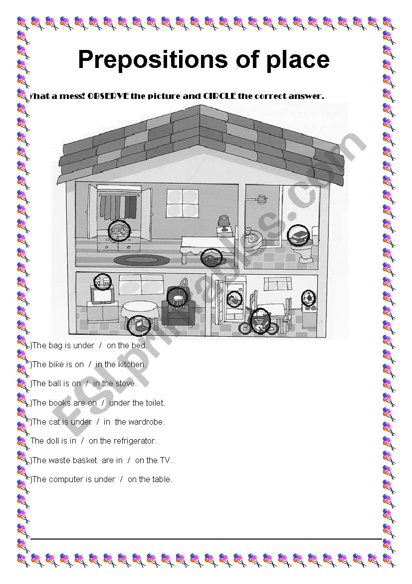 Prepositions of places worksheet