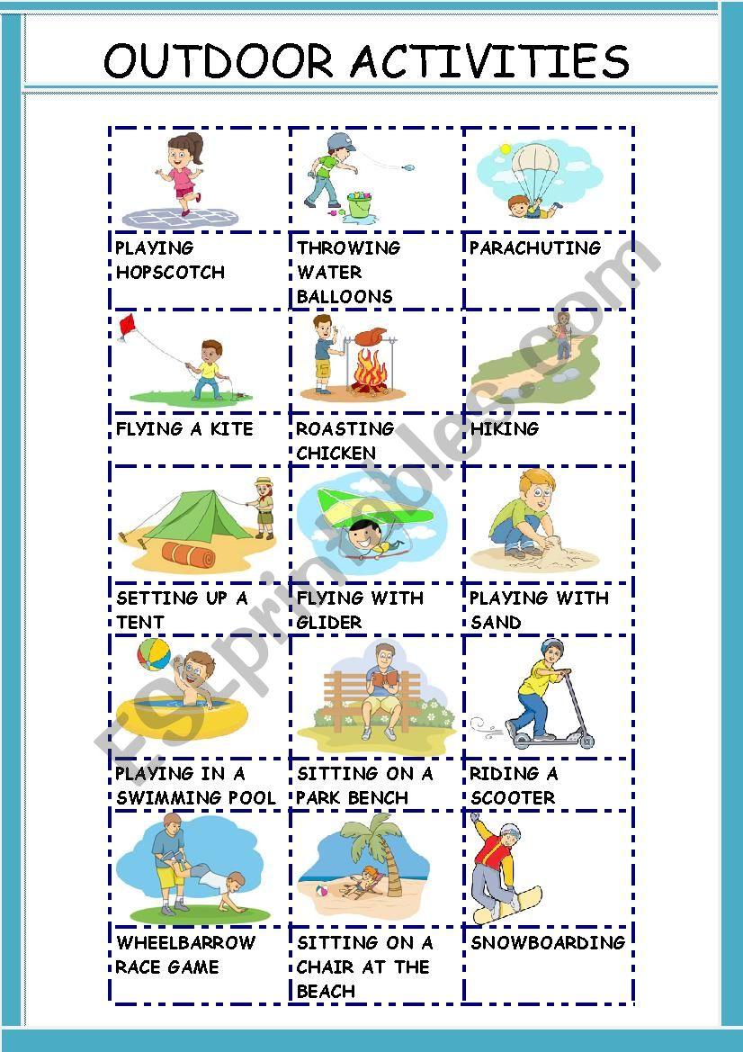 OUTDOOR ACTIVITIES - ESL worksheet by gemaherlo