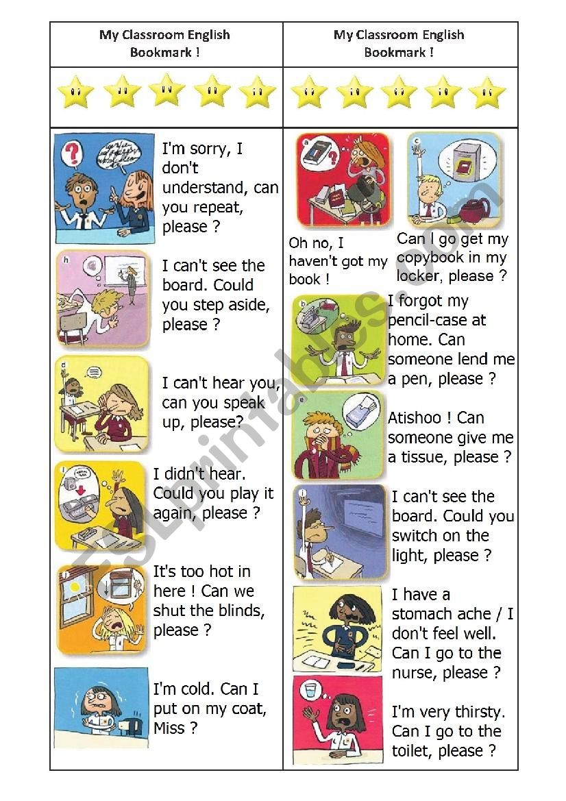 Classroom English BOOKMARK-with answers - ESL worksheet by