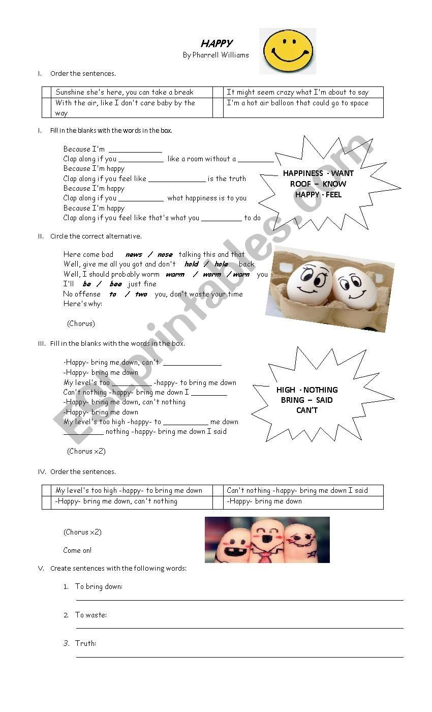 Happy lyrics - ESL worksheet by Paorella