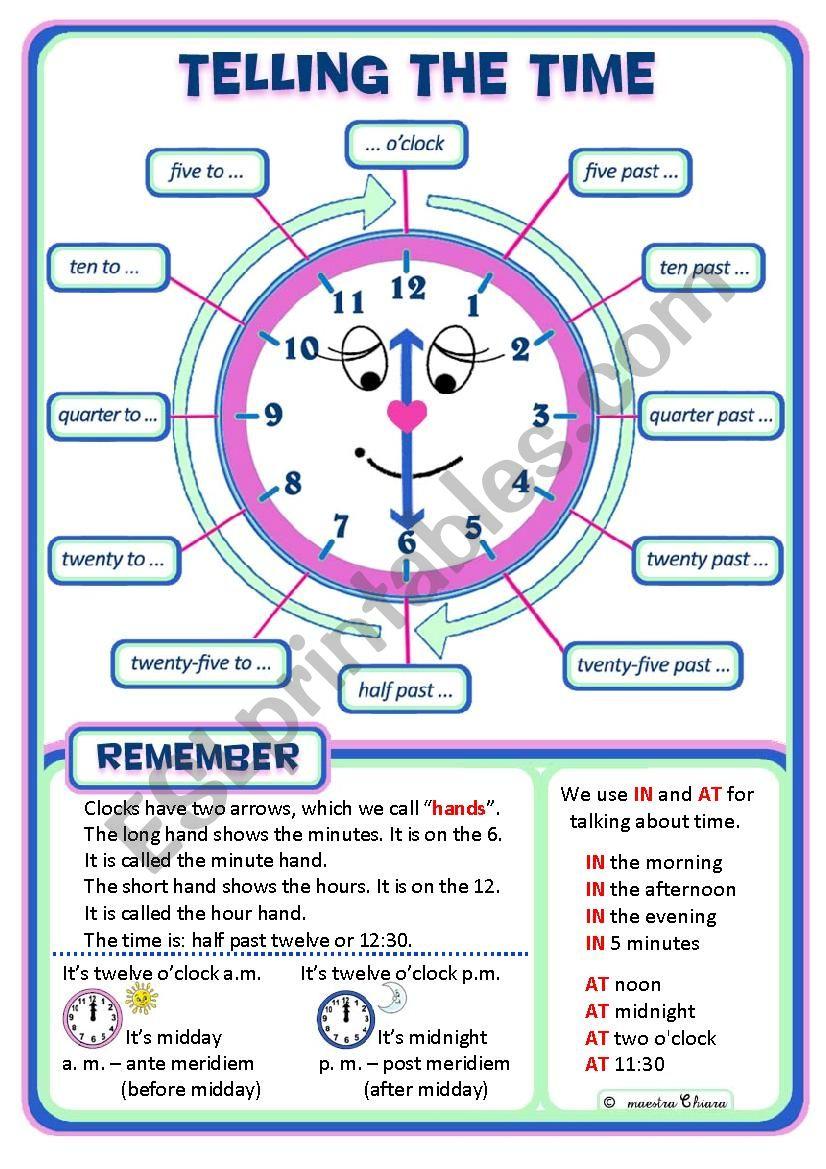 telling the time poster esl worksheet by chiaretta. Black Bedroom Furniture Sets. Home Design Ideas