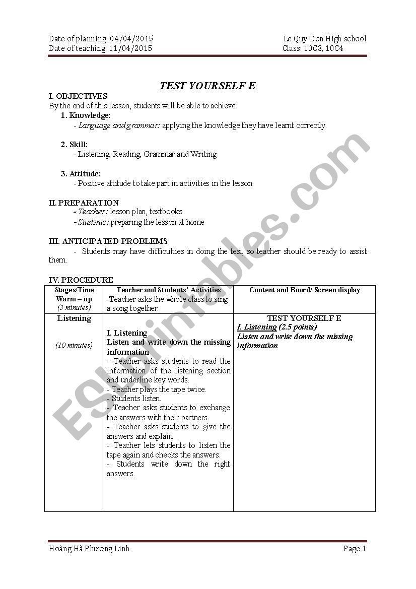 Test yourself  worksheet