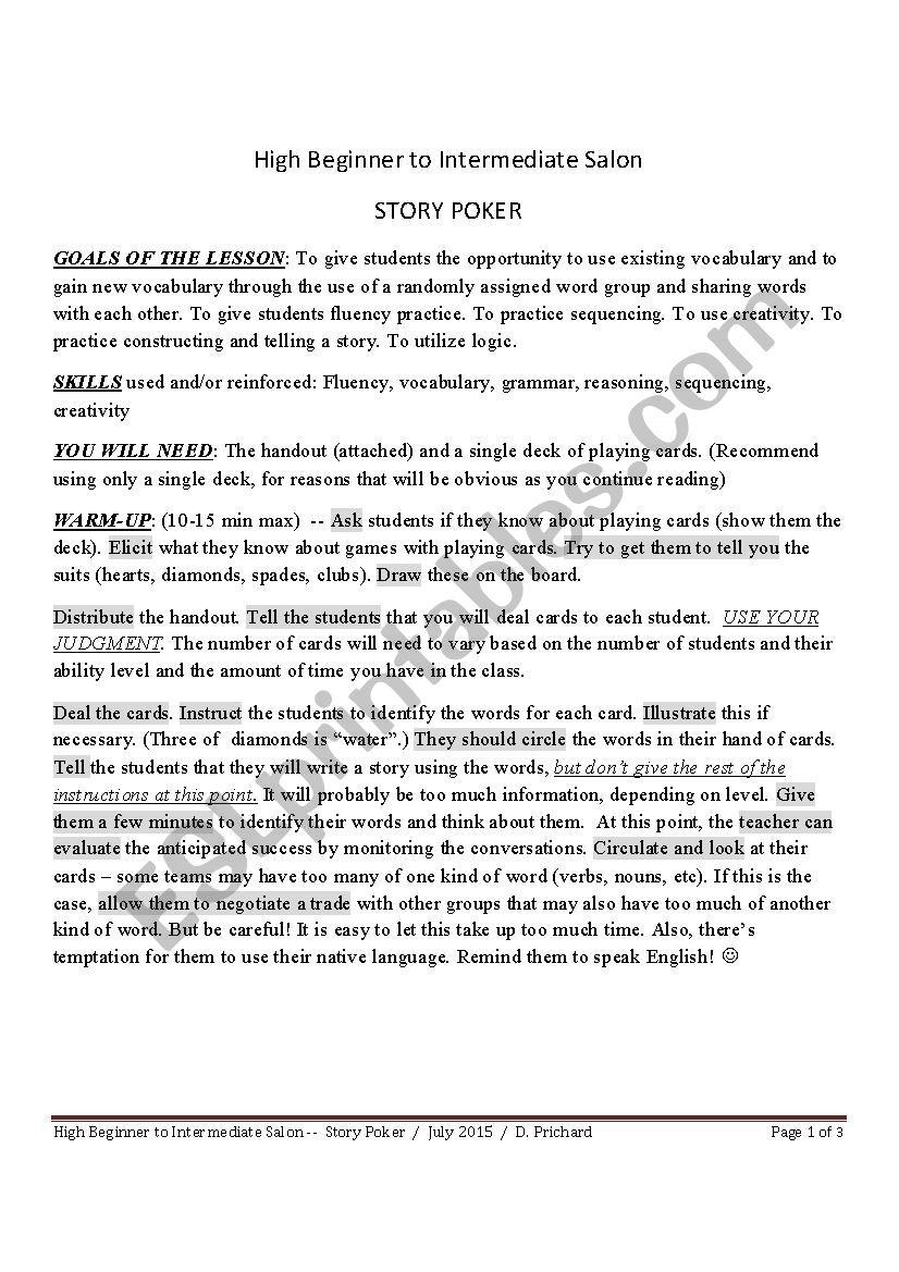 STORY POKER worksheet