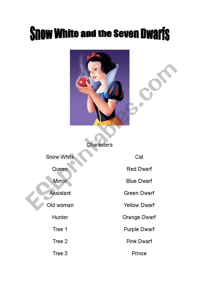 Snow White and the Seven Dwarfs - Play Script - ESL worksheet by