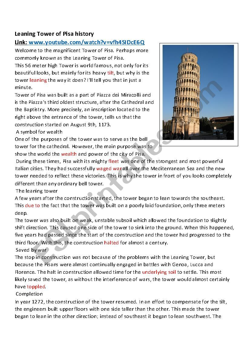 The Leaning Tower of Pisa worksheet