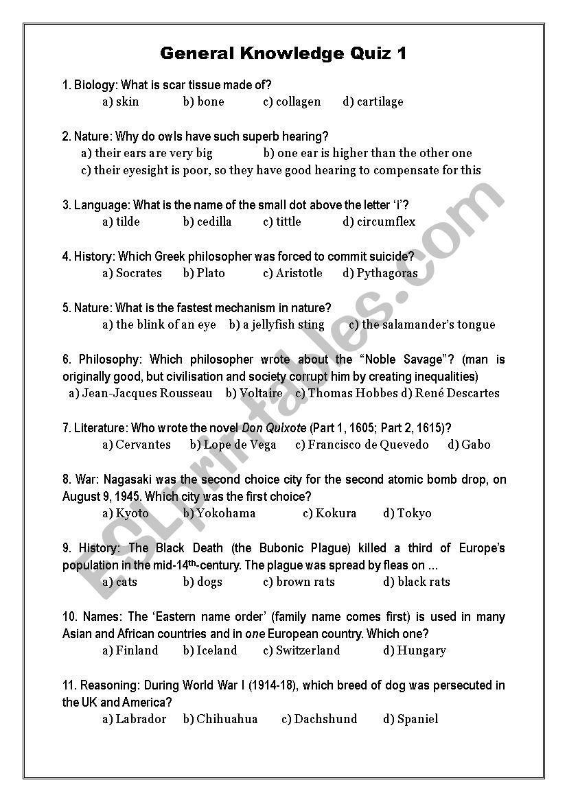 General Knowledge Quiz 1 - ESL worksheet by Oligol