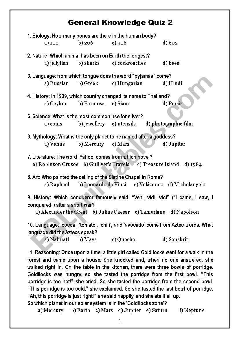 General Knowledge Quiz 2 - ESL worksheet by Oligol