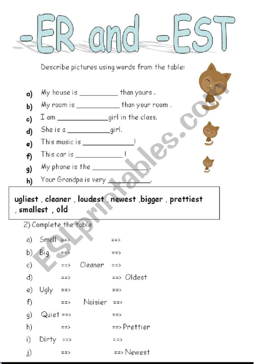 Adjective Worksheets Using Er And Est - Rcnschool