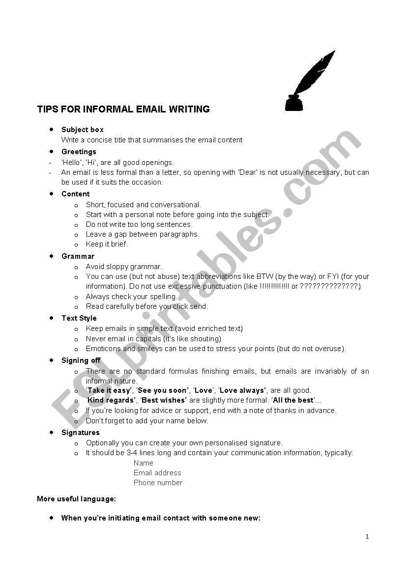Tips writing informal email worksheet