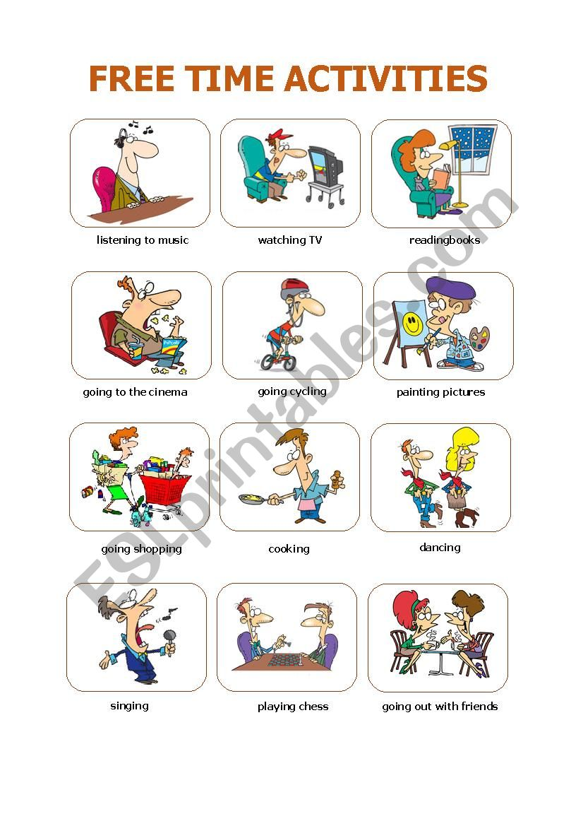 Free Time Activities Esl Worksheet By Cachua Lively