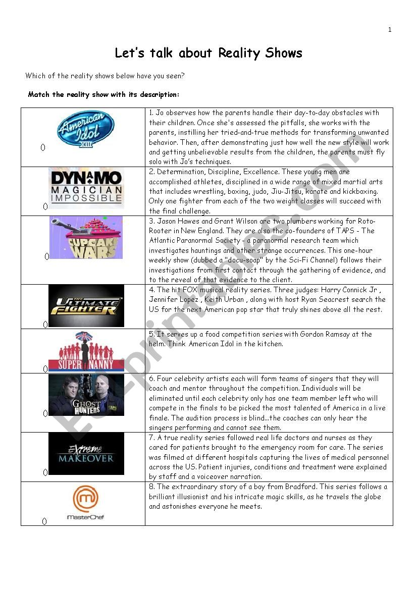 LETS TALK ABOUT REALITY SHOWS worksheet