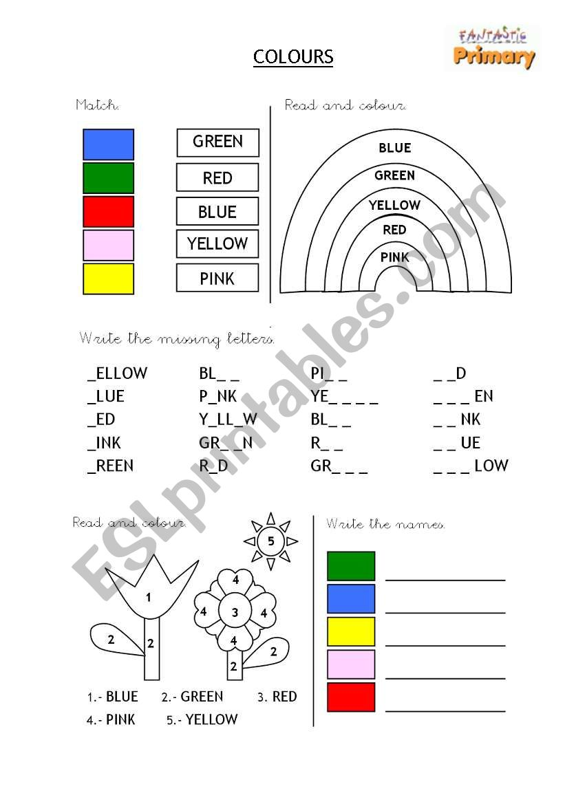 Colours - First reading and writing (2)