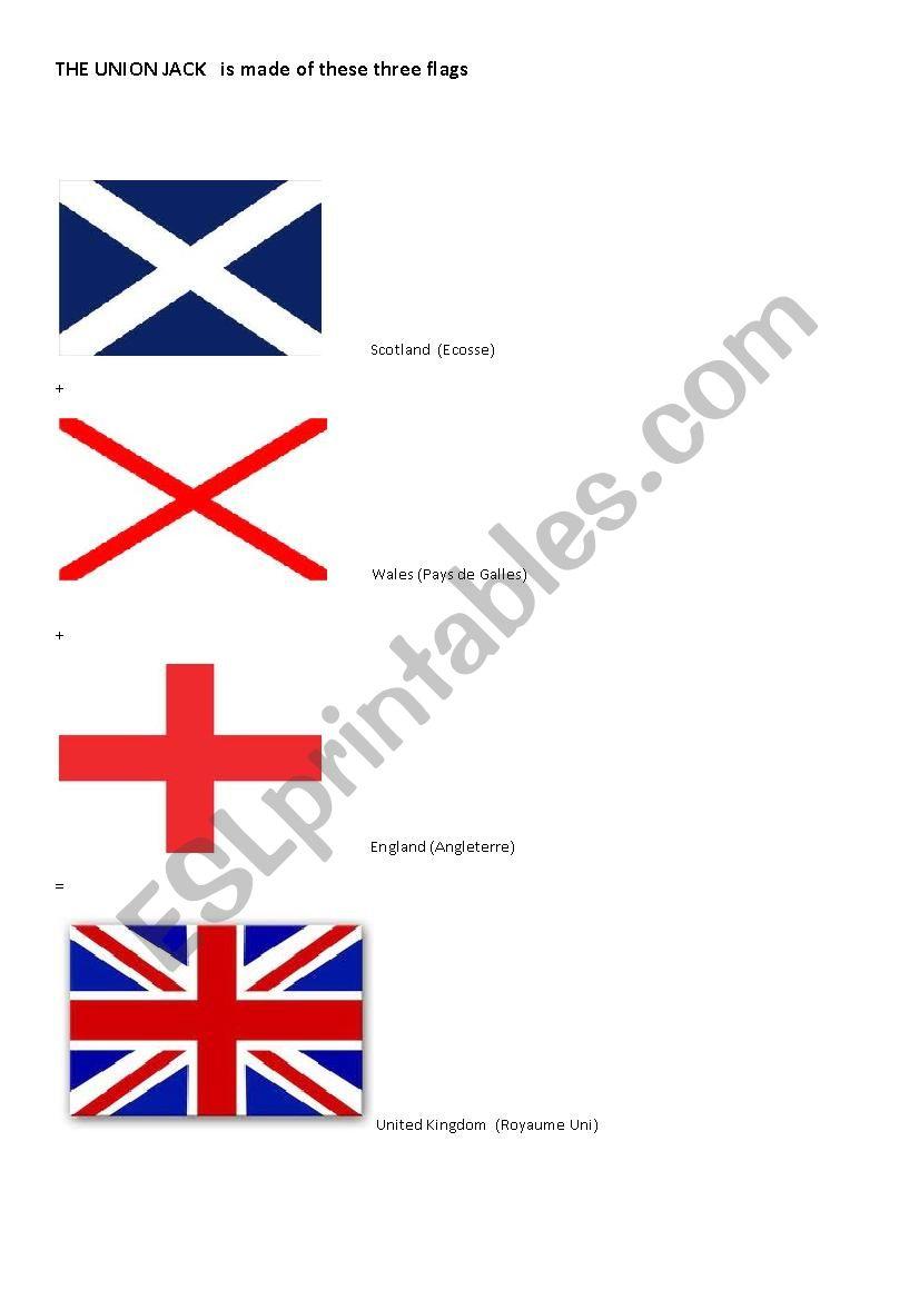 The Union Jack flag worksheet
