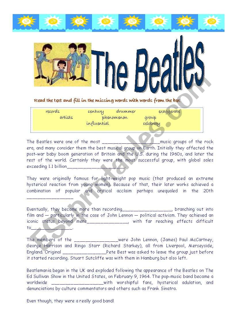 The Beatles- reading and song worksheet