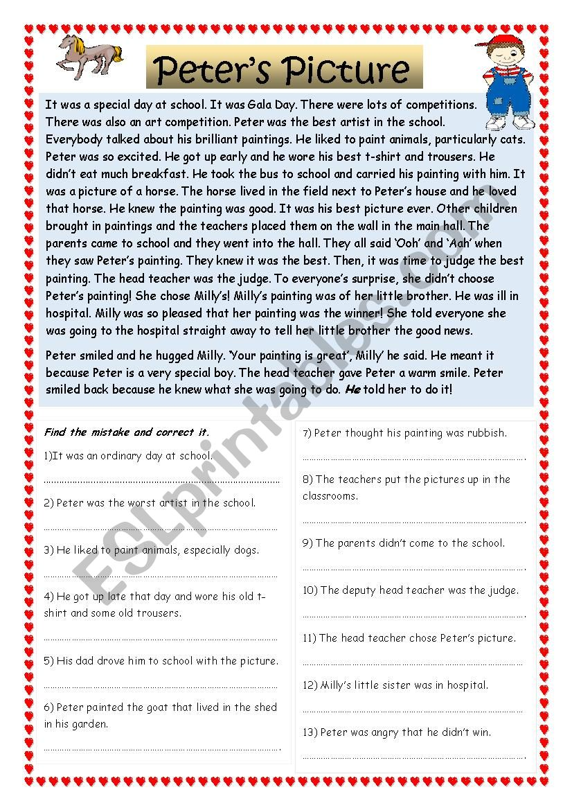 Peter´s Picture worksheet