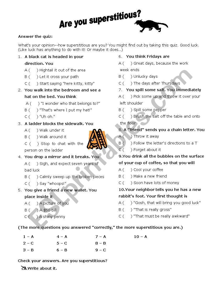 Are you superstitious? worksheet