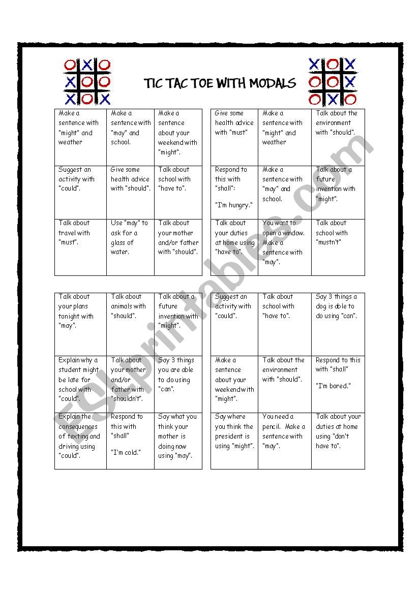 This is a picture of Geeky Tic Tac Toe Worksheet