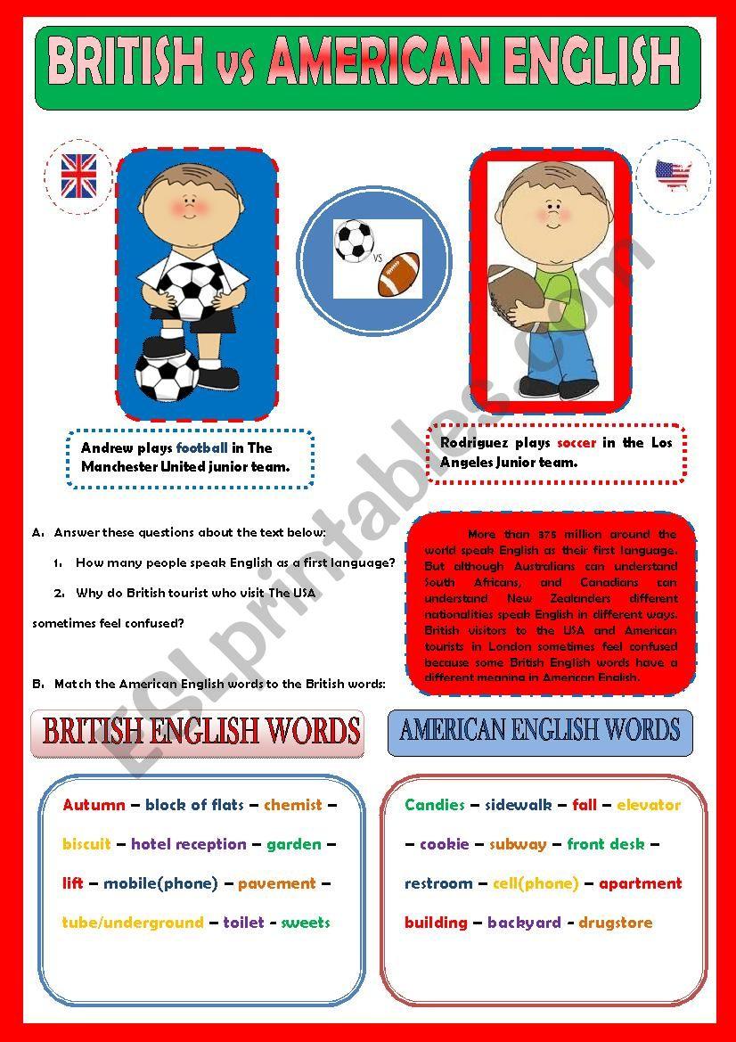 BRITISH vs AMERICAN ENGLISH  worksheet