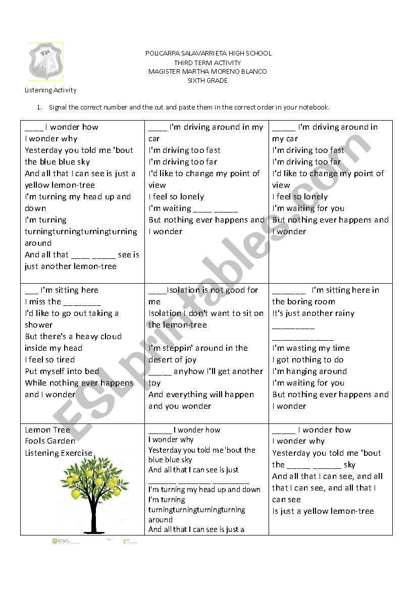 Lemon tree listening exercise worksheet