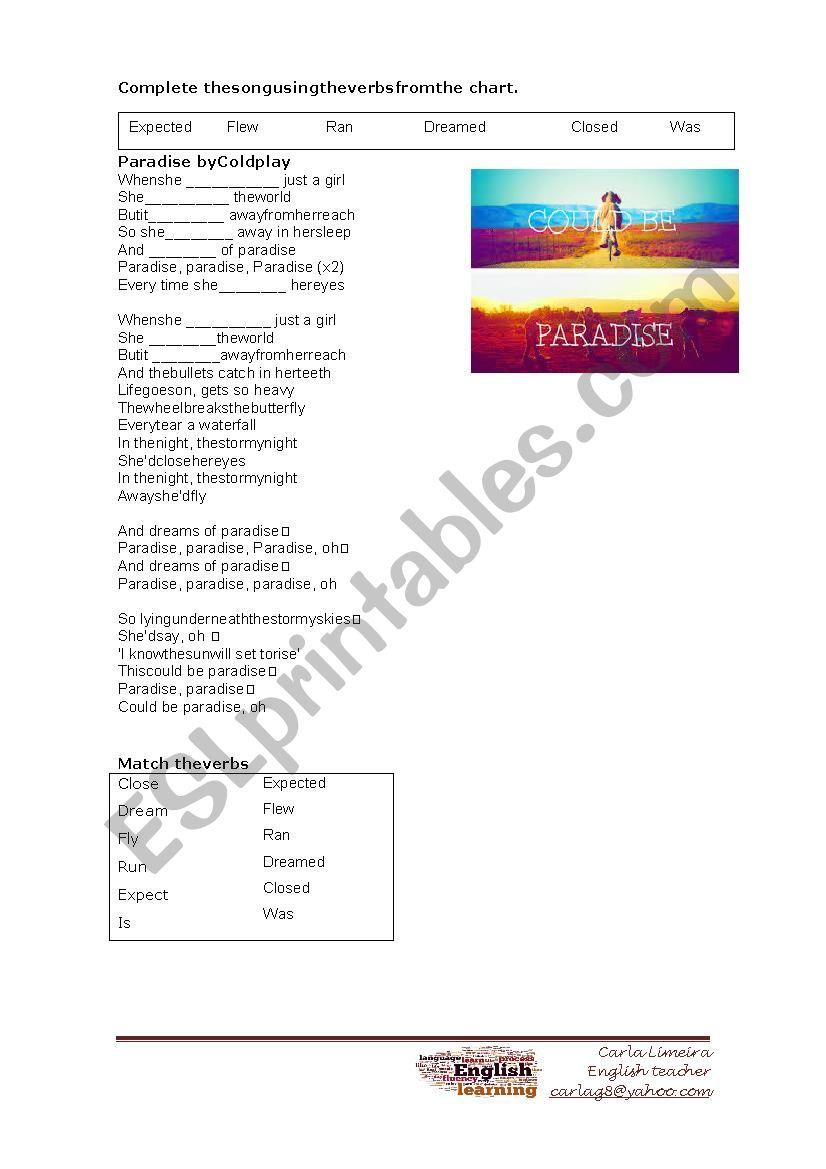 Paradise - song worksheet