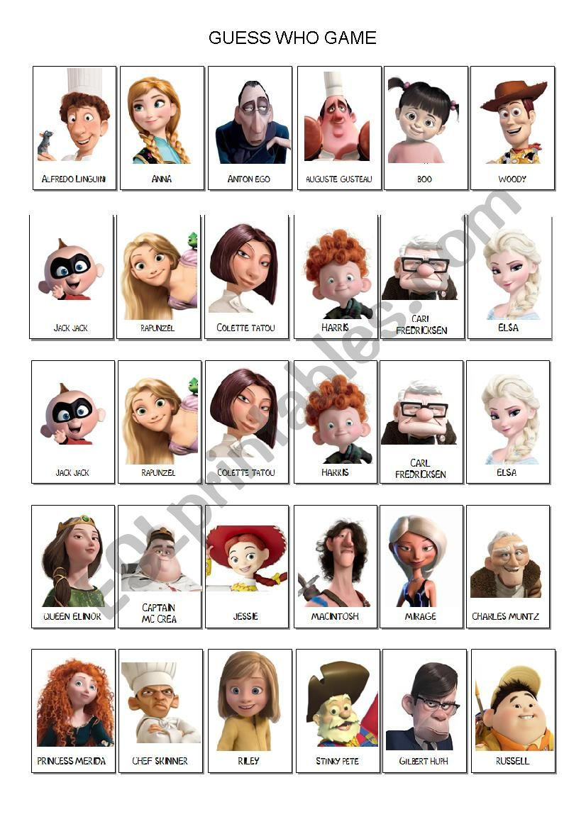 graphic about Guess Who Printable identify Wager WHO Sport DISNEY PIXAR - ESL worksheet by means of laetimag