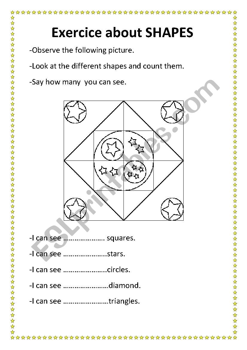 exercice about shapes worksheet