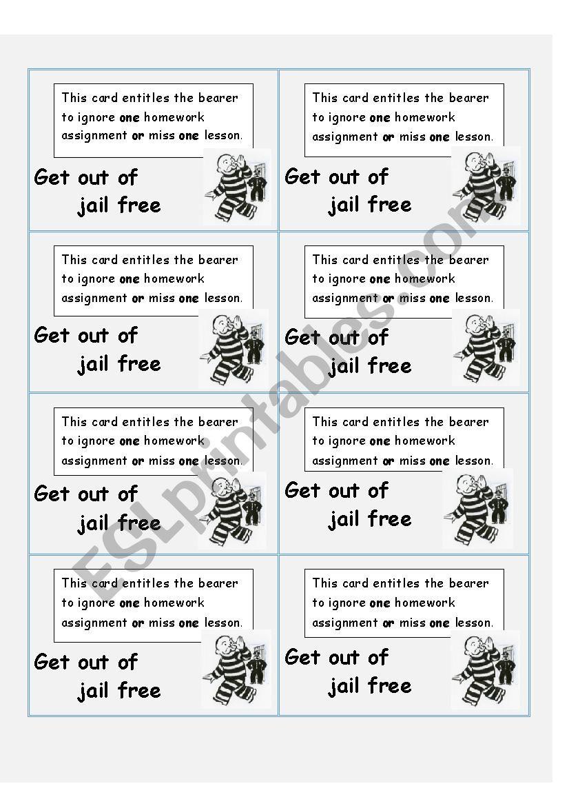 Get out of Jail worksheet