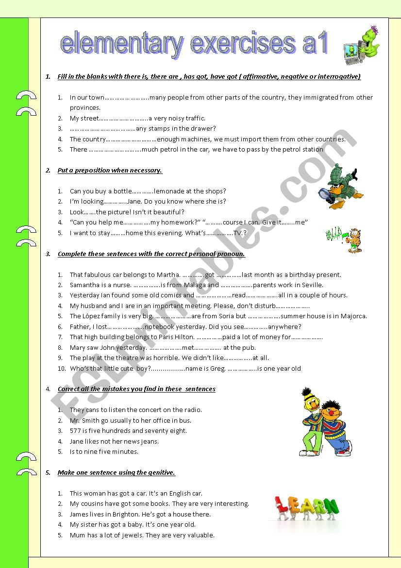 Review. Elementary exercises (A1)