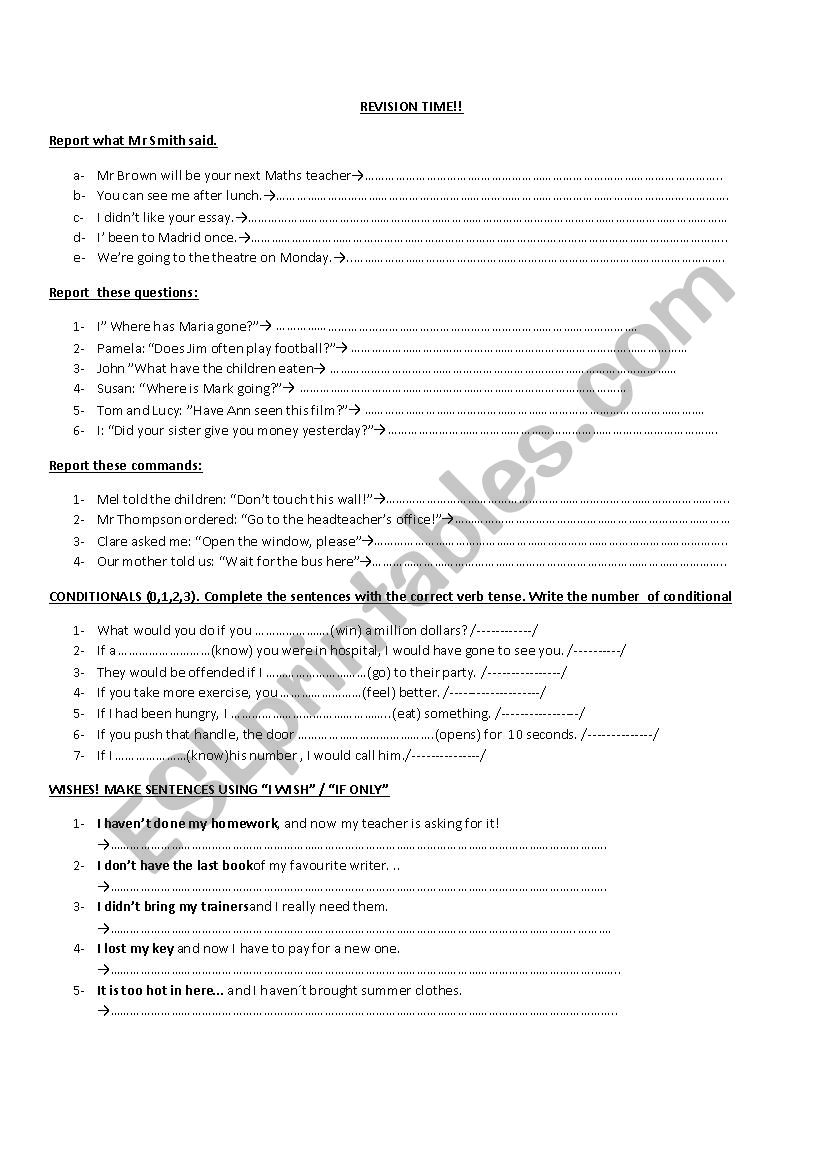 Reported Speech and Conditionals