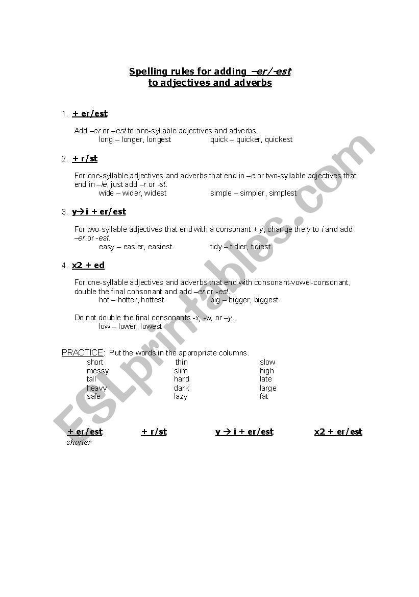 Spelling rules for adding -er/-est - self-study worksheet