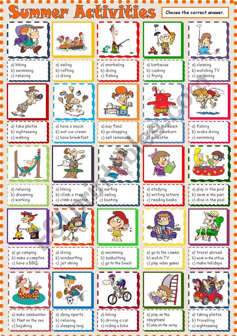 Summer Activities Esl Worksheet By Krmel