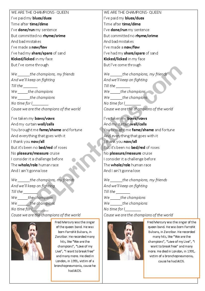Song We are the champions worksheet