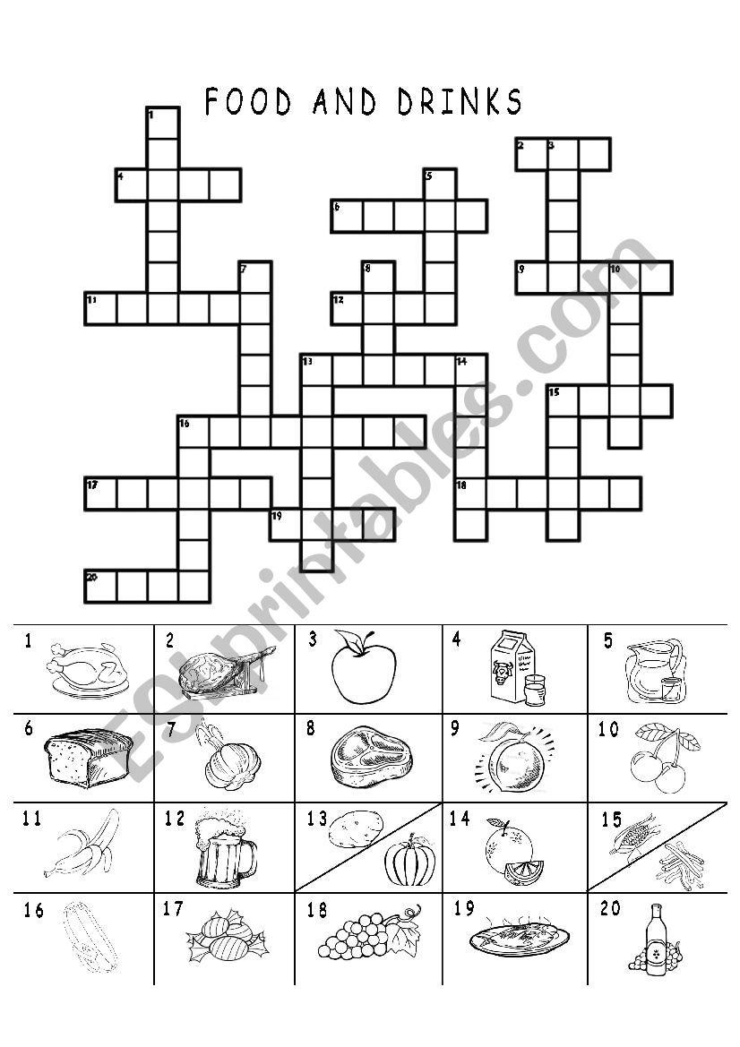 food crossword drinks worksheet preview worksheets