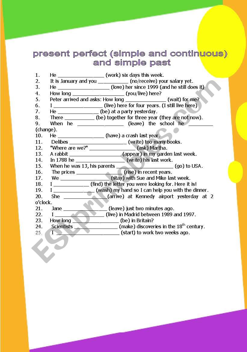 past simple, present perfect simple, present perfect continuous (3 pages) GRAMMAR WORKSHEET 3