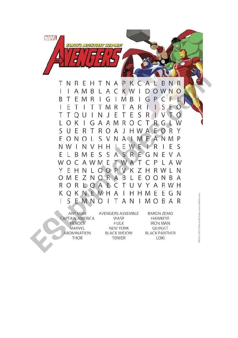 AVENGER&SPIDERMAN WORD SEARCH worksheet