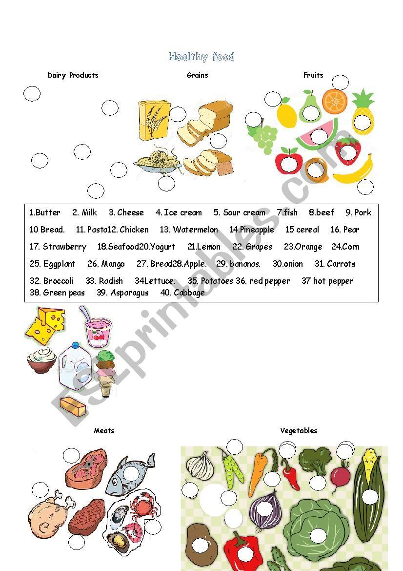 Healthy food - ESL worksheet by kemhuete