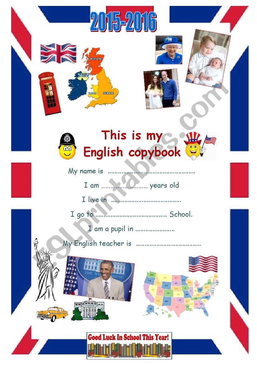 2015-2016 copybook cover page Year 8 pupils