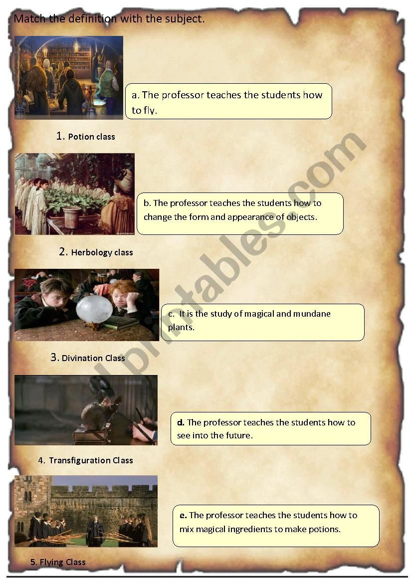 Harry Potter: Definition of subjects