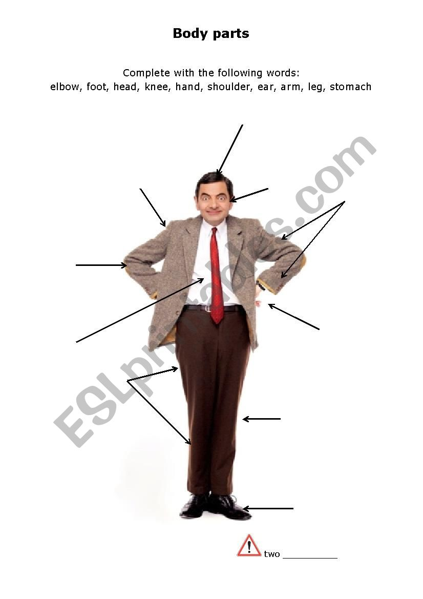 Mr Bean´s body parts worksheet