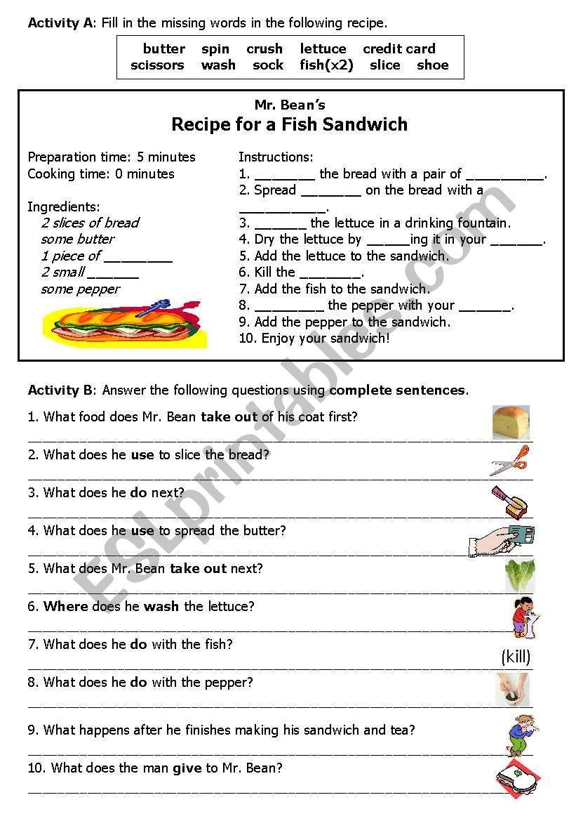 Mr. Bean Makes a Sandwich Worksheet B
