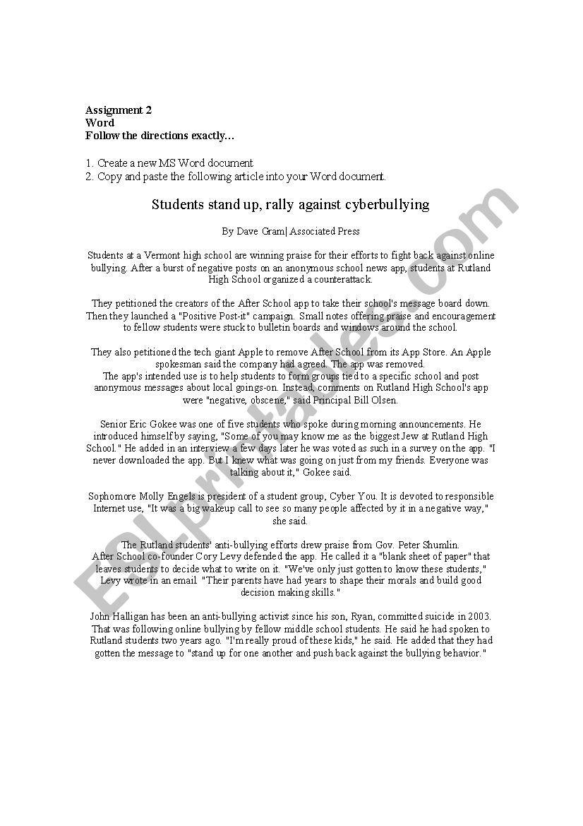 Microsoft Word Directions Assignment - ESL worksheet by vwilson25 Regarding Following Directions Worksheet Middle School