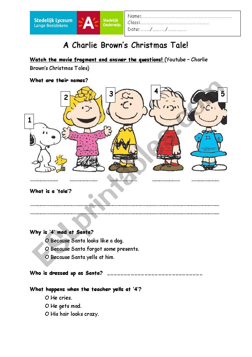 Charlie Brown´s christmas worksheet
