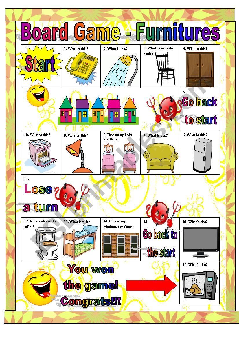 Board Game Furnitures worksheet