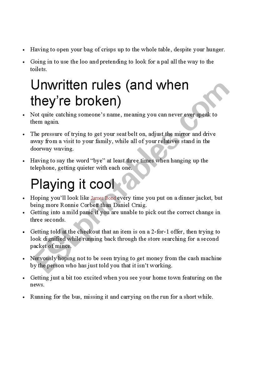 British hang ups - ESL worksheet by Johnitcjka