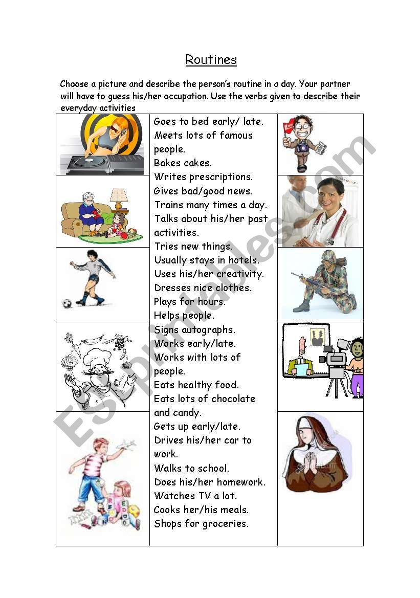 Routines worksheet
