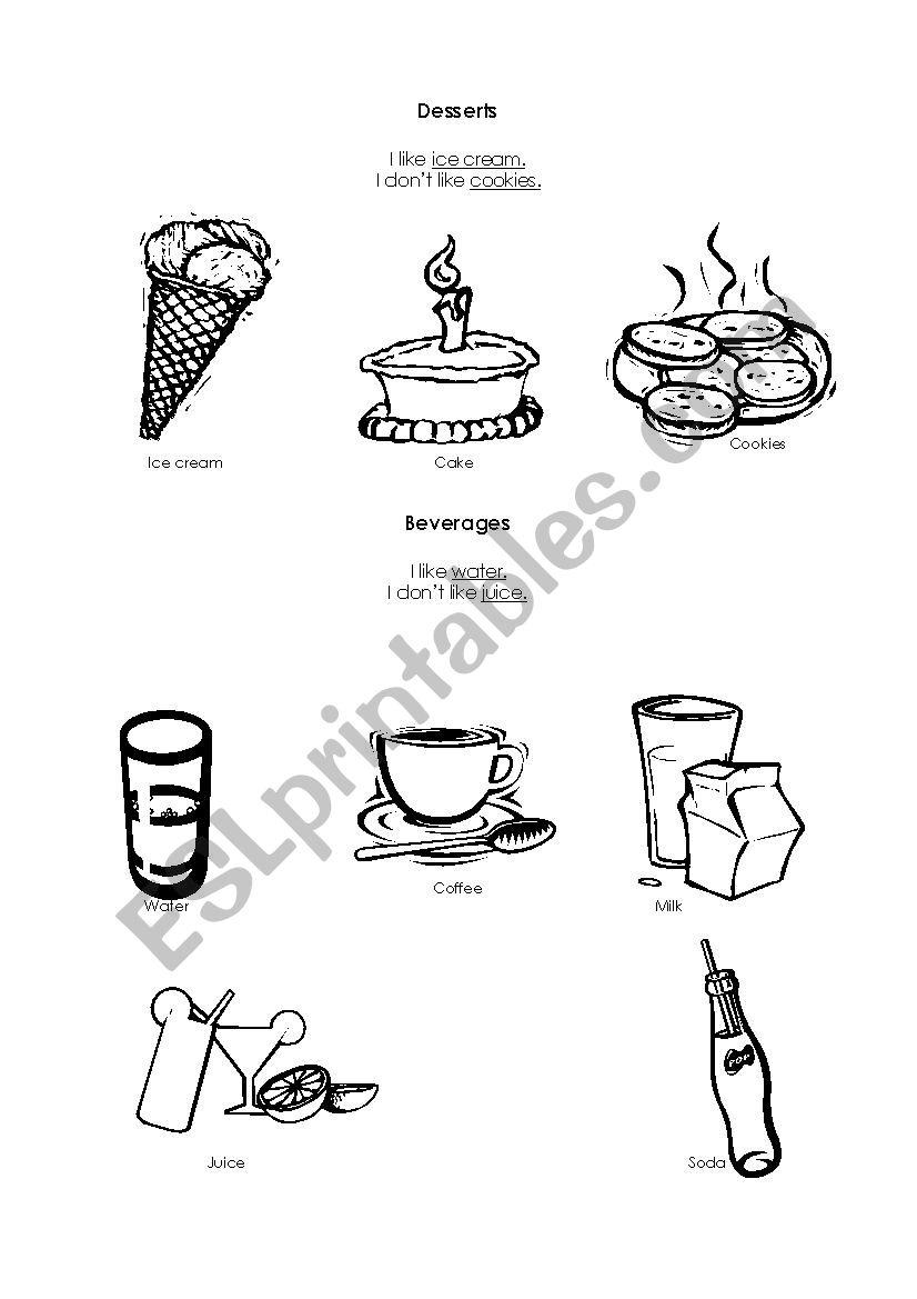 Desserts and beverages  worksheet