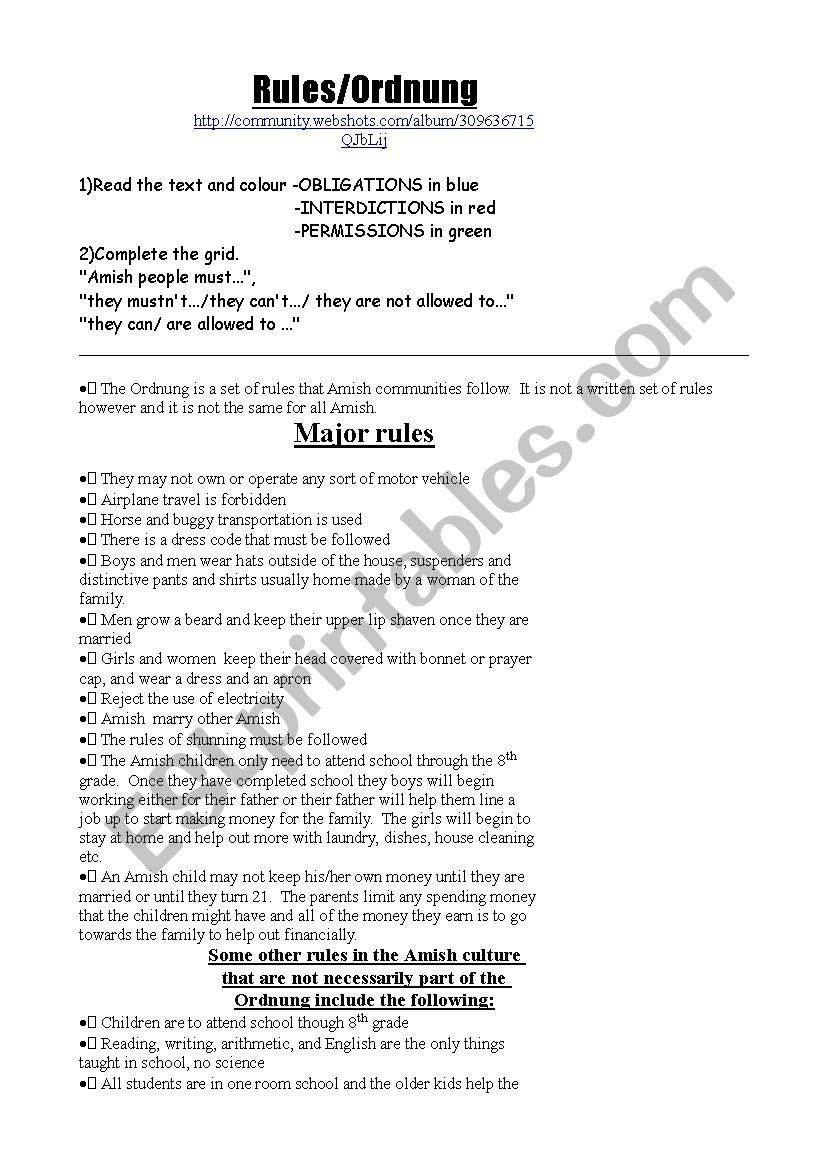 Amish rules worksheet