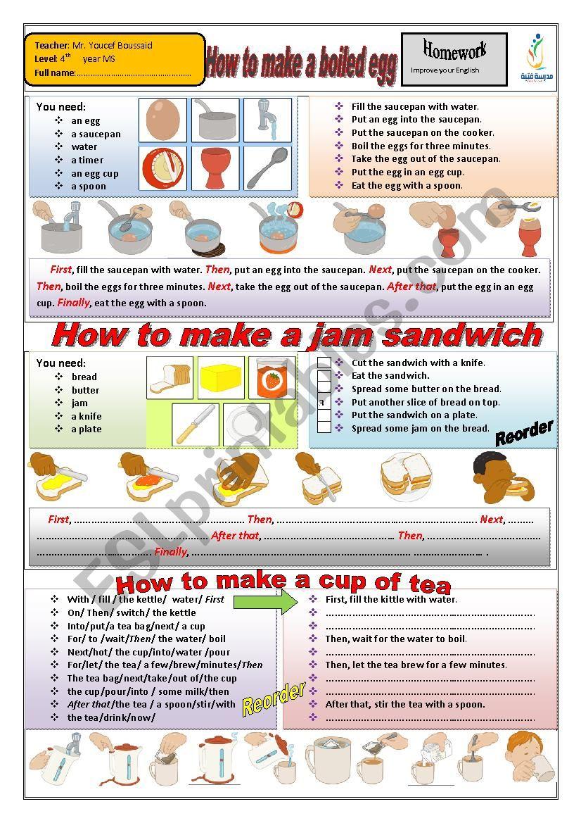How to make a boiled egg worksheet