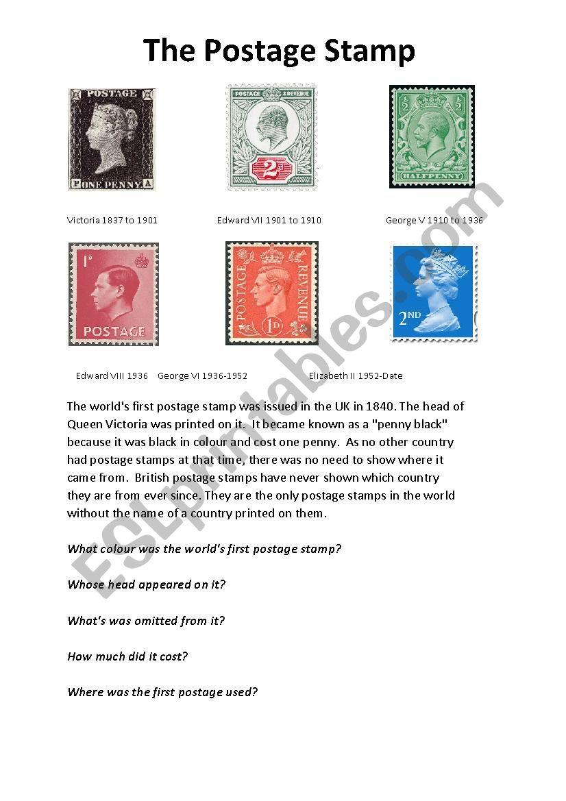 The Postage Stamp - ESL worksheet by MXLMXL